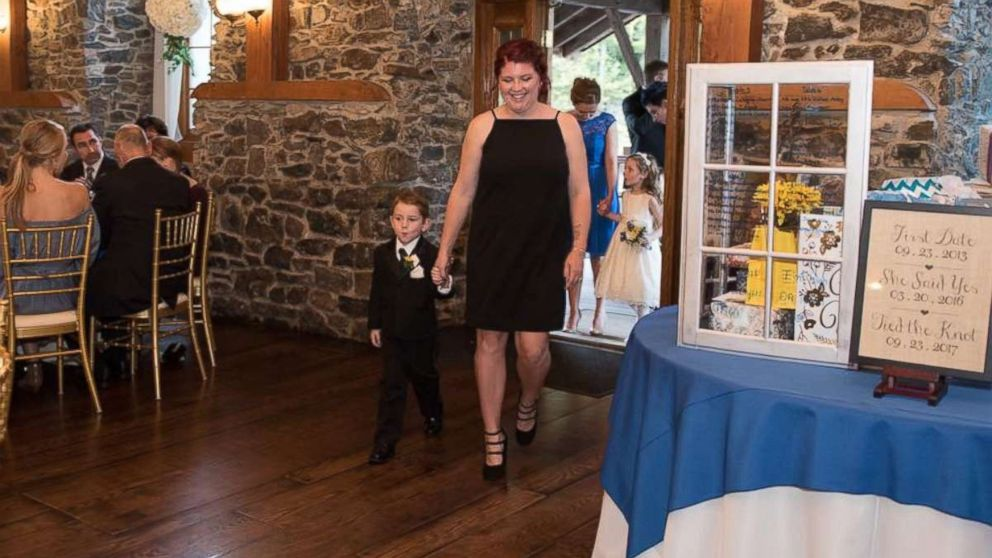 Casey Bender, 25, of Chambersburg, Pennsylvania, seen with her son Landon, 4, on September 23, the day of Landon's father's wedding.