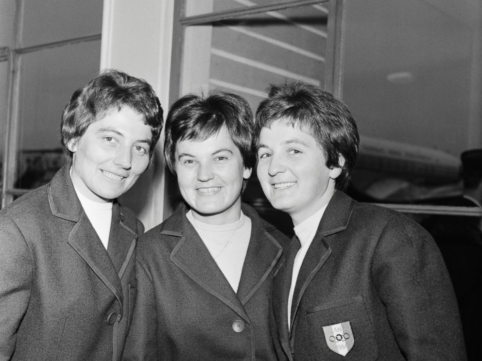 PHOTO: Therese, Marguerite and Anne-Marie Leduc, sisters from France, leave Paris to compete at the Winter Olympics on Feb. 4, 1960.
