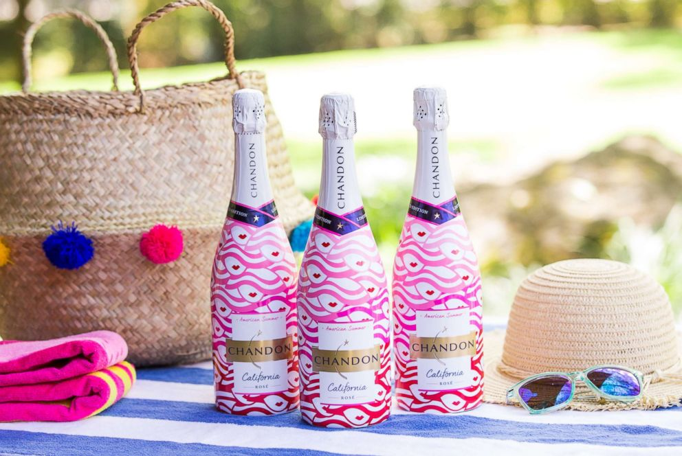 PHOTO: Chandons new limited-edition American Summer Rose label is adorned with pretty pink summer hats to reflect the rose hued wine.