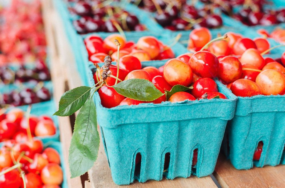 Cherries are seen at a farmers market in this undated stock photo.