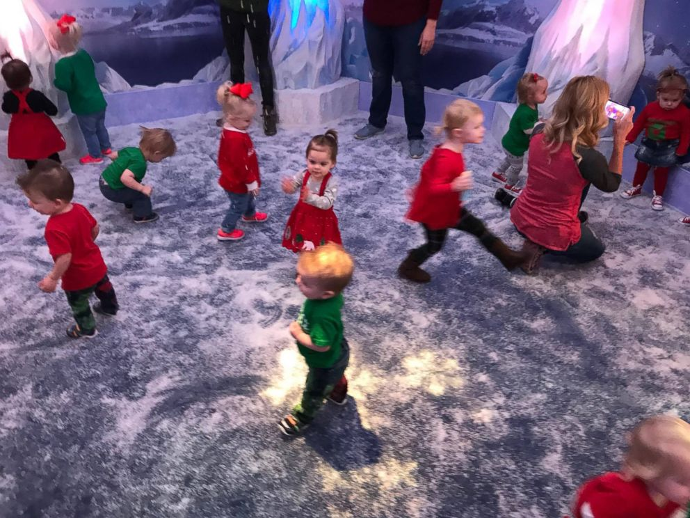 PHOTO: The twin children in the Chicago Twin Moms mommy group playing ahead of their photo with Santa Claus in Illinois Woodfield Mall on Nov. 27, 2017.