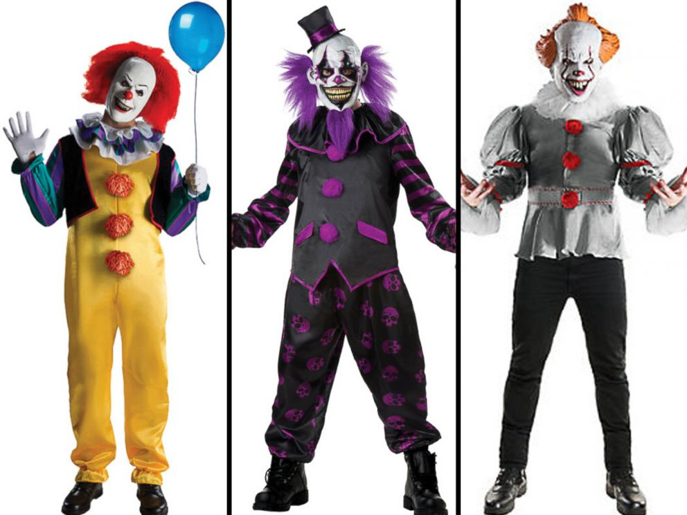 PHOTO: The Pennywise The Dancing Clown costume and the Mens Bearded Clown costume are available on halloweenexpress.com and the Adult Gray Pennywise costume from the 2017 film, It is listed for sale online at partycity.com.