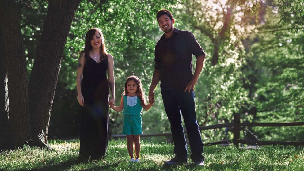 Haley Booth with her 4-year-old daughter Rachel, and her ex-husband Caleb Quattrone.