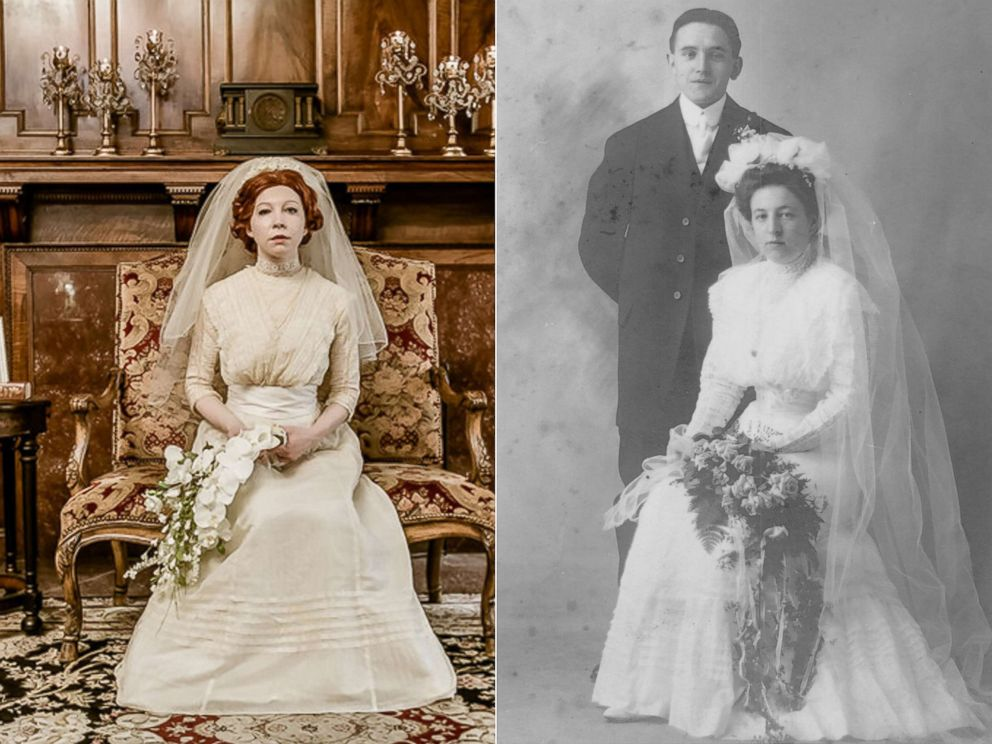 Bride wears great-grandmother\'s 1910 wedding dress in special ...