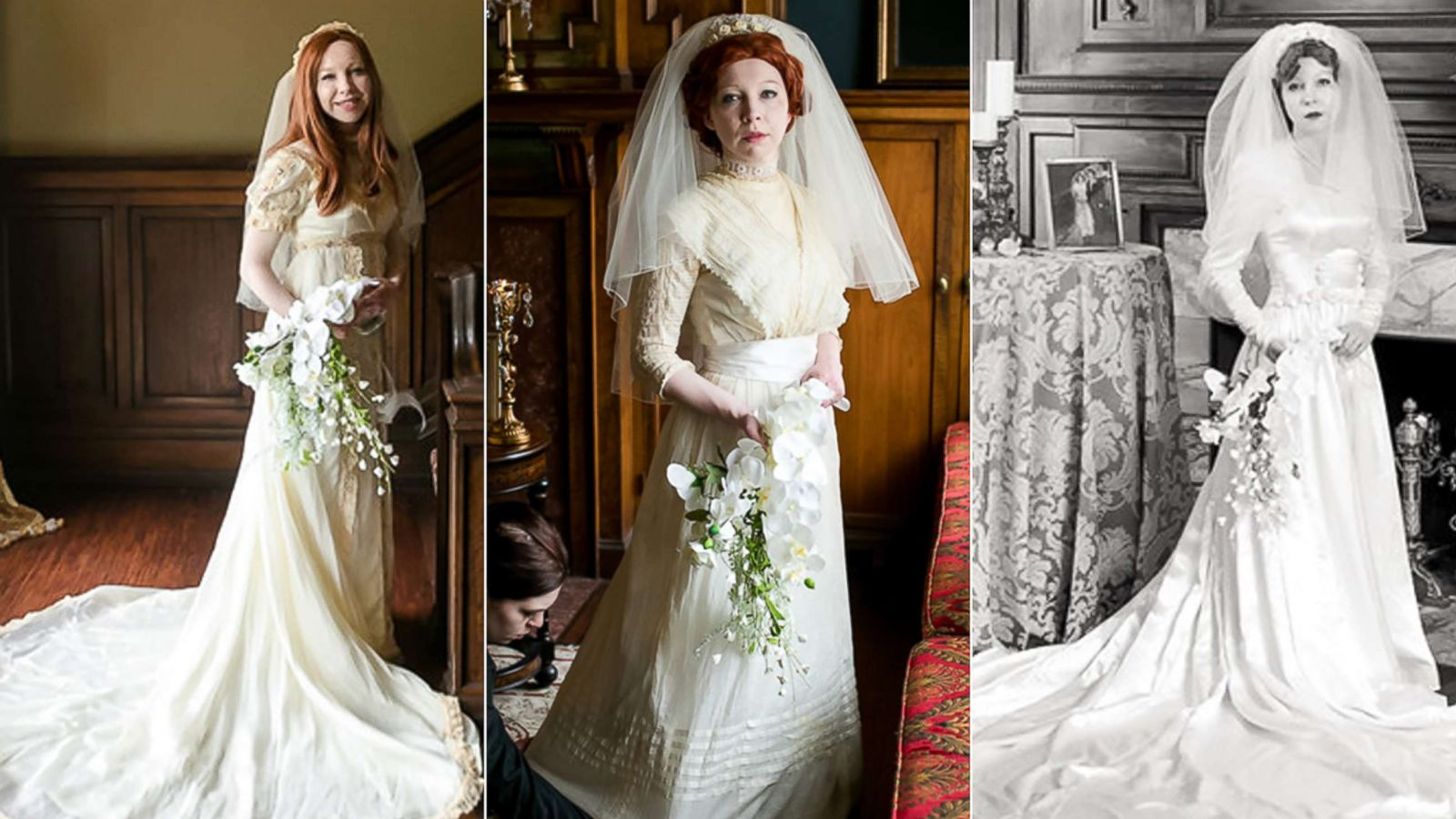 Bride Wears Great Grandmother S 1910 Wedding Dress In Special Photo Shoot Abc News