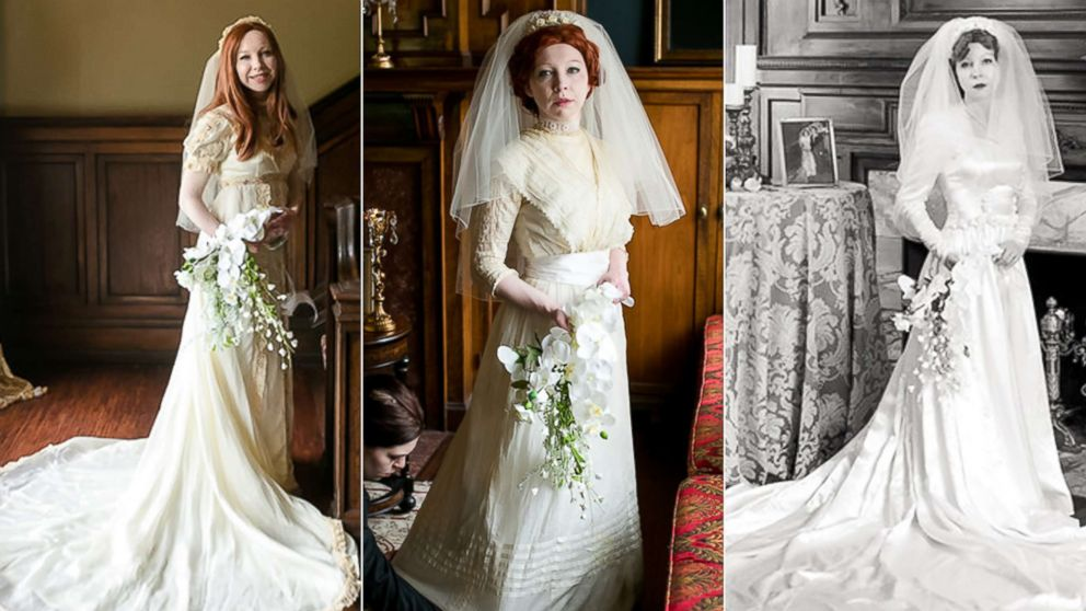 Bride wears great grandmother 39 s 1910 wedding dress in for Restoring old wedding dresses