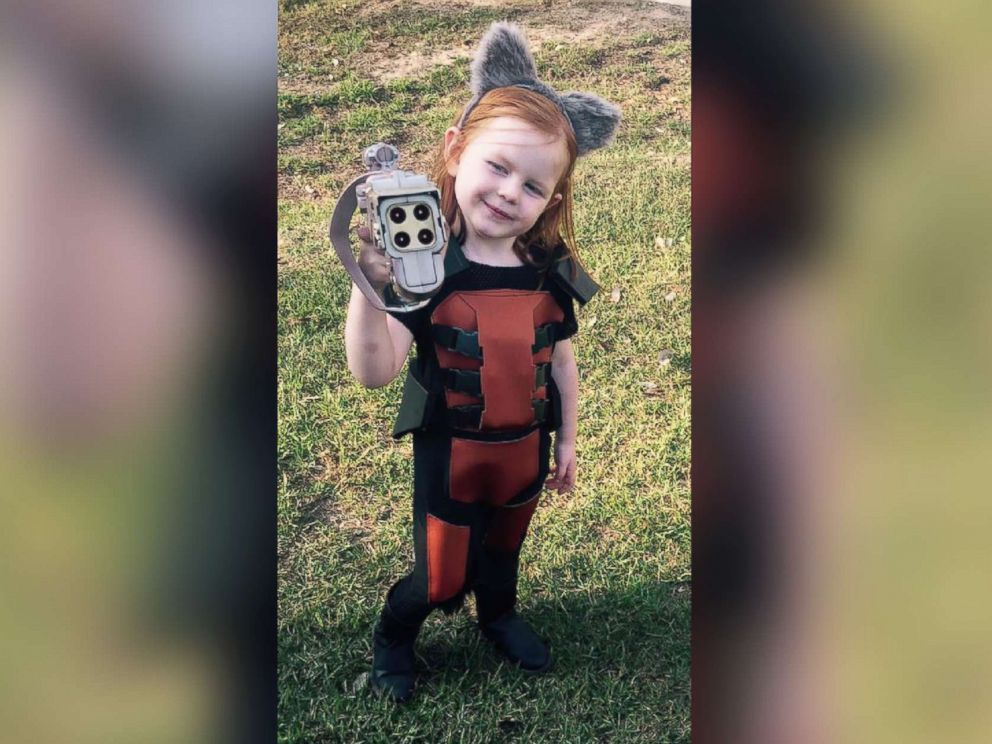 PHOTO: Amelia Grace, 3, decked out as Rocket Raccoon from Guardians of the Galaxy for Halloween.