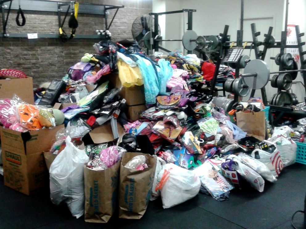 PHOTO: Halloween costumes donated by people across the country were stored in the gym of the Santa Rosa Police Department before being given away.