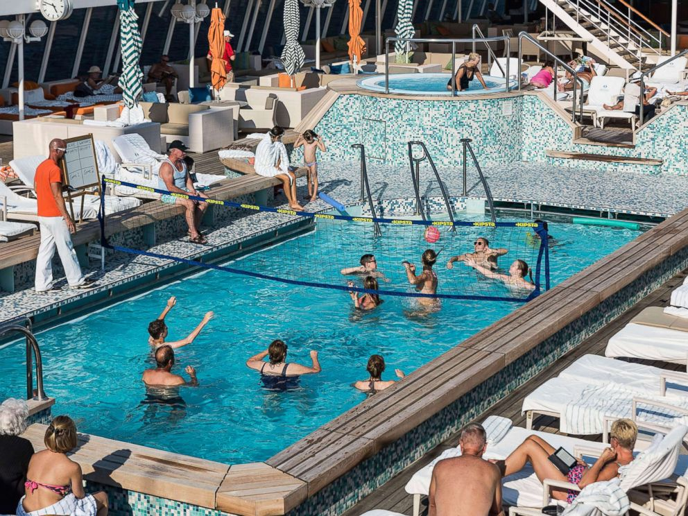 PHOTO: People play water volleyball on the Crystal Serenity in Campania, Italy, in 2015.