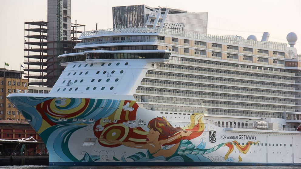 The Norwegian Getaway sits anchored in the Port of Rio de Janeiro during the Olympic Games, Aug. 9, 2016.