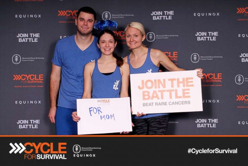 PHOTO: Elliot Fuller (brother), Crissie Vitale (sister), Kelsey Combe at Cycle for Survival at Equinox in Chicago Feb. 2017.