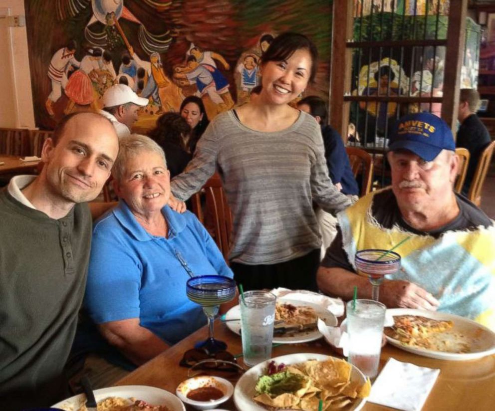 PHOTO: Dax Oliver and Kris Geiger have lunch with Olivers parents.