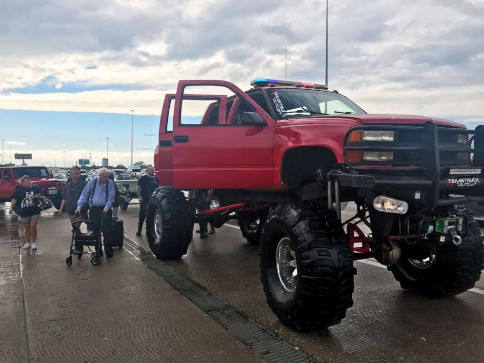 PHOTO: Lauren de Wets grandfather and husband were rescued by this giant truck from the flooded Omni Hotel in Houston.