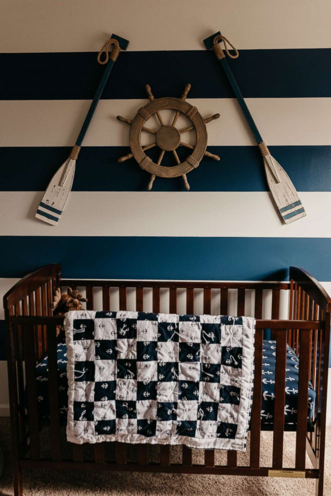 PHOTO: Klimaszewski of Foristell, Missouri, made her son Cohens nautical blanket from scratch.