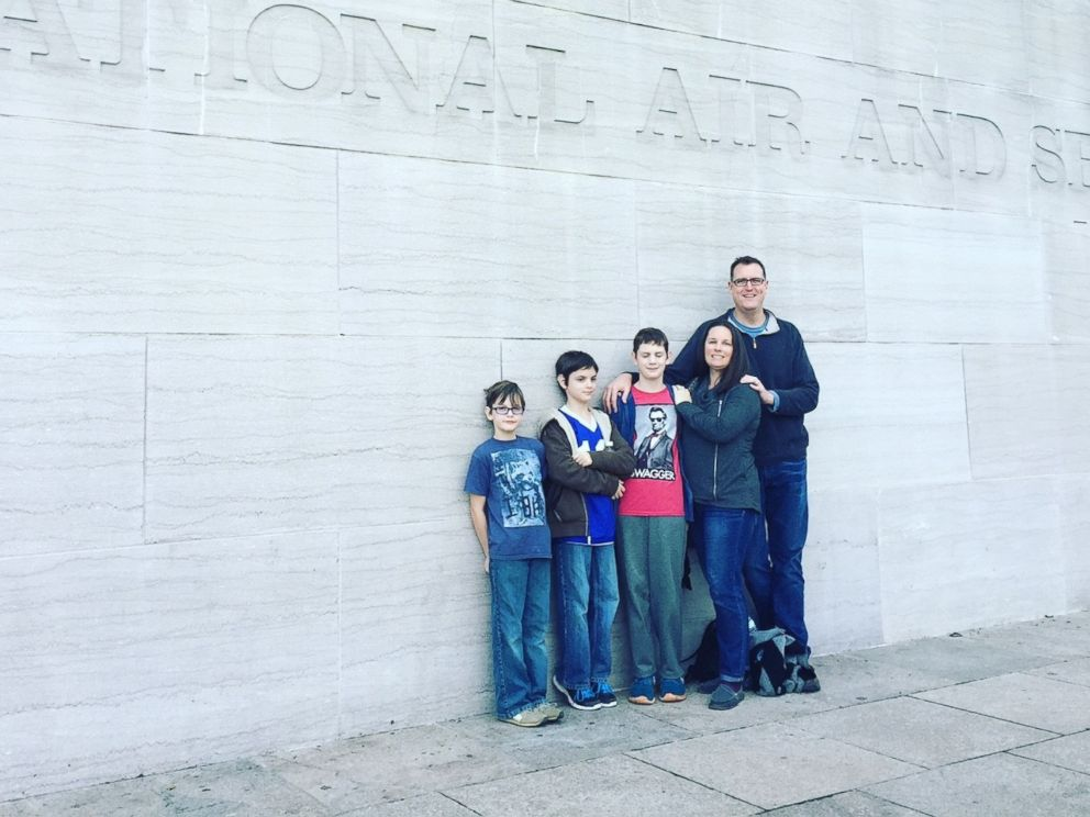 PHOTO: Dan and Anne Dillon pose with their three sons on a family trip to Washington, D.C.
