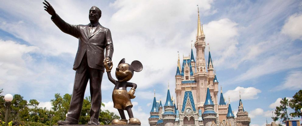 """PHOTO: """"Partners,"""" a statue of Walt Disney and Mickey Mouse, sits in front of Cinderella Castle at Magic Kingdom, part of the Walt Disney World theme park and resort in Lake Buena Vista, Fla, Aug. 31, 2009."""