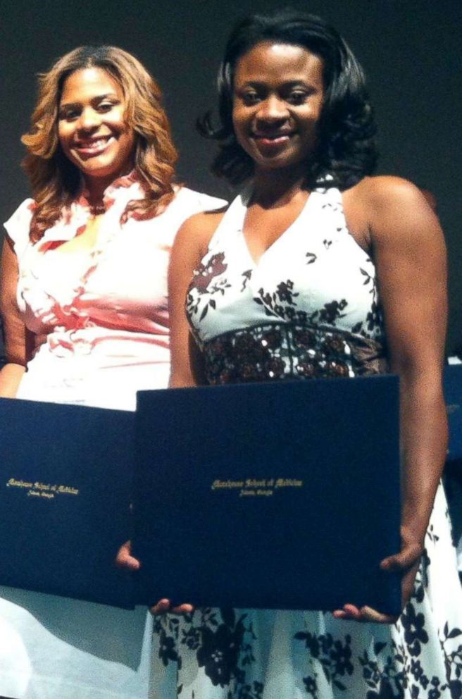 PHOTO: Dr. Jocelyn Slaughter and Dr. Laquita Martinez graduating from their residency Morehouse School of Medicine.
