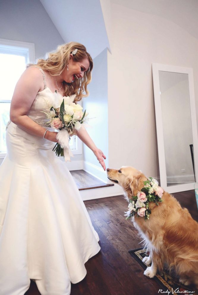 "The bride said her golden retriever, Norah, is ""part of the fabric of our family,"" so not including her in the wedding was never an option."