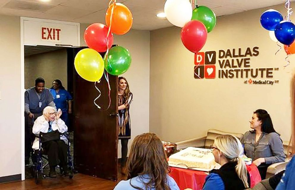 dallas hospital surprises 99 year old patient with birthday party