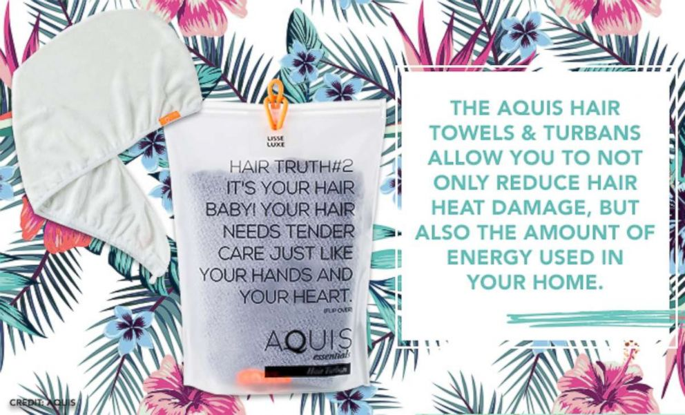 PHOTO: The Aquis Hair Towels & Turbans allow you to not only reduce hair heat damage, but also the amount of energy used in your home.