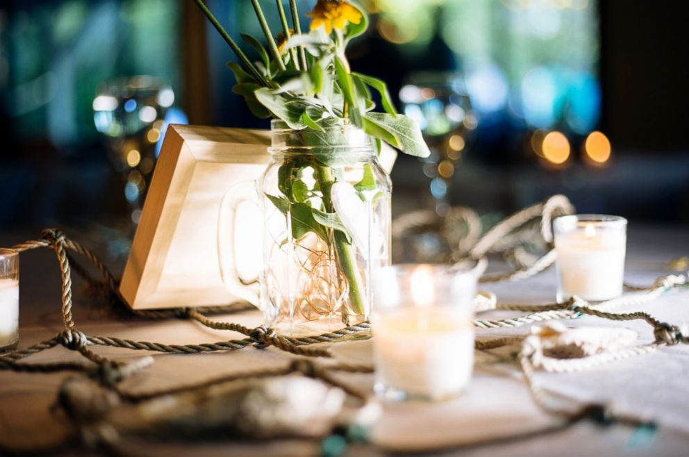 PHOTO:The centerpieces at Enie and Marc Hensels wedding featured clippings the happy couple collected from a nearby marsh in St. Augustine, Florida, in 2017.