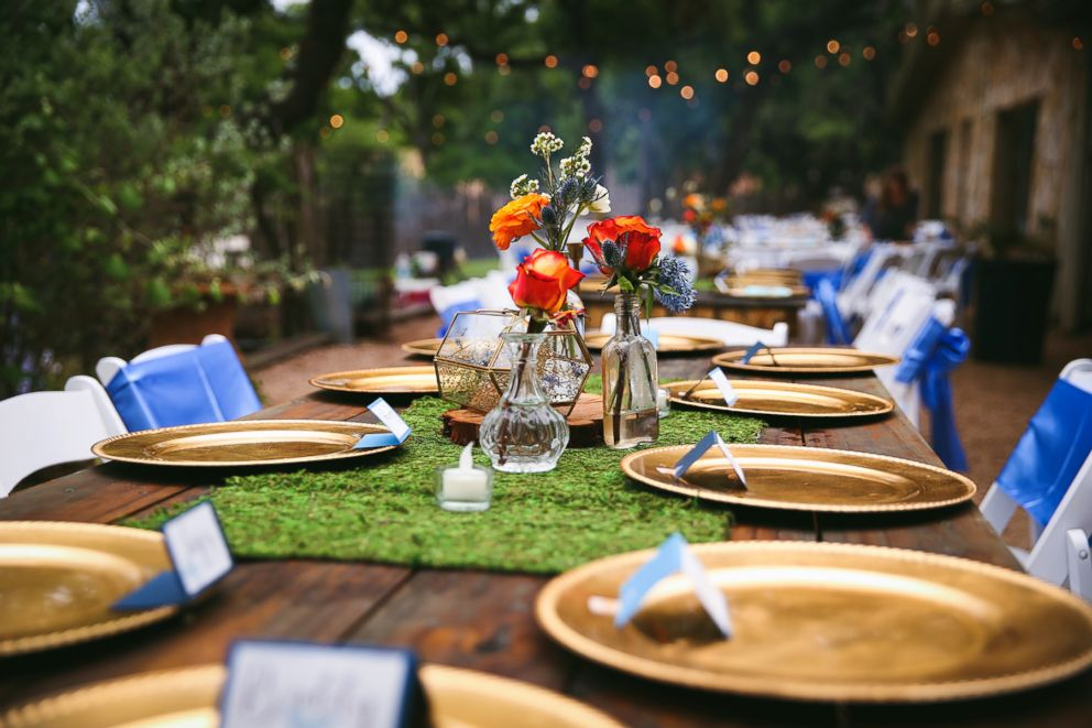 PHOTO: The eco-friendly table settings at Sarah and Kaleb Williams wedding in Wimberley, Texas, in 2017.