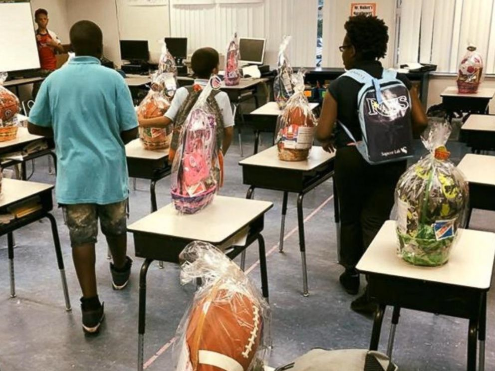 PHOTO: The Easter baskets were purchased at a local Walmart. Teacher Brent Walker bought Easter baskets for all three fifth-grade classes.
