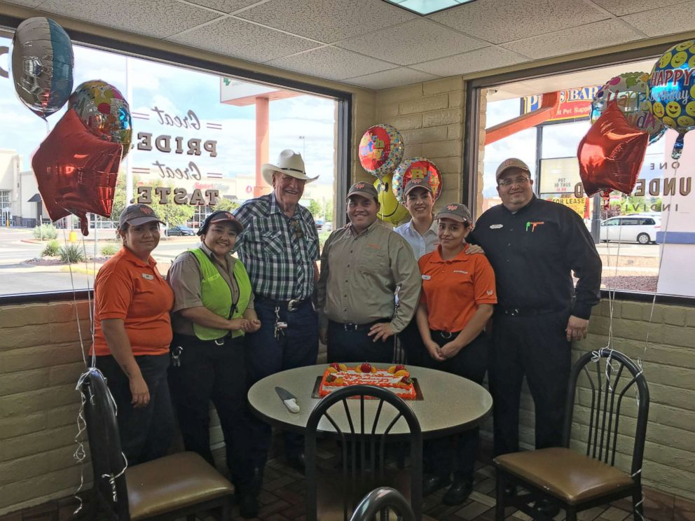 PHOTO: Ed Johnson, a loyal Whataburger customer, was surprised with balloons and cake when he arrived on his 80th birthday.