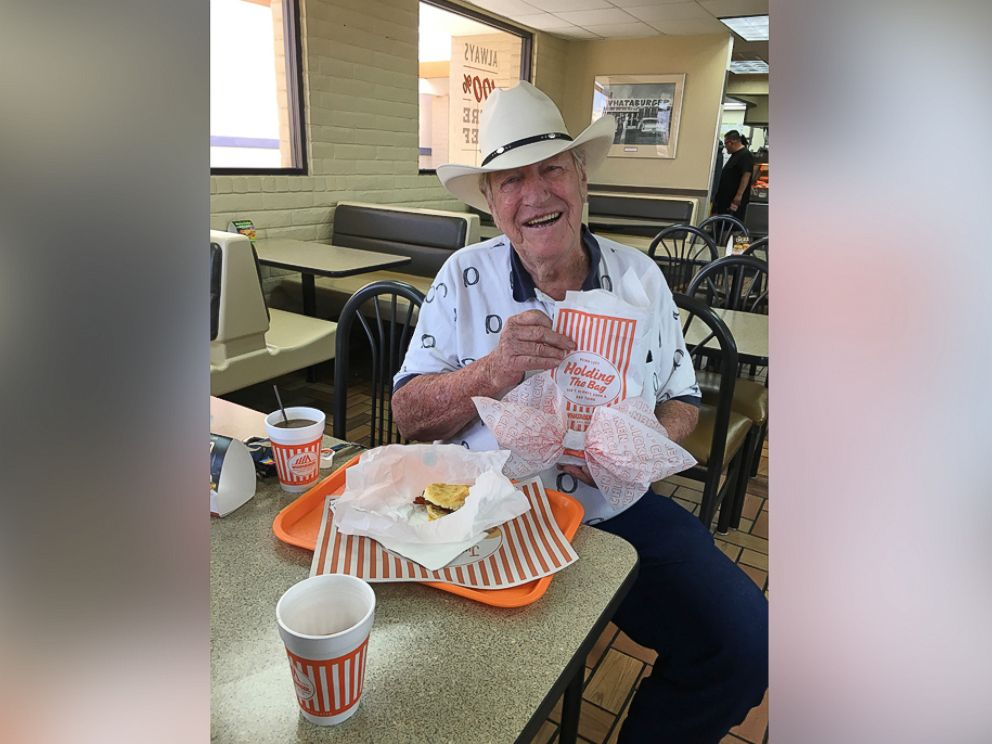 PHOTO: Ed Johnson of El Paso, Texas, orders a Whataburger bacon, egg and cheese biscuit with a coffee every day for breakfast.