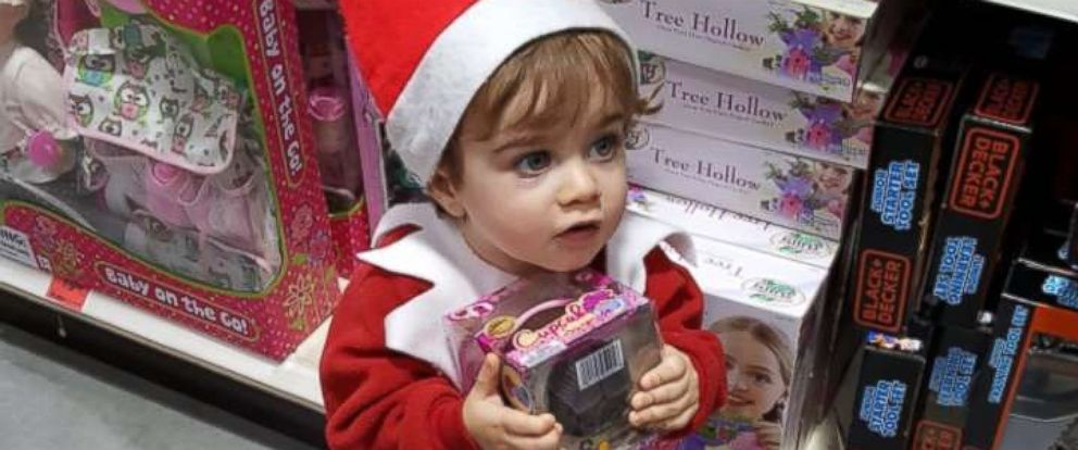 "PHOTO: ""Elf on the Shelf"" Forest Schott, 18 months, looking for toys to buy for other kids in need this holiday season."