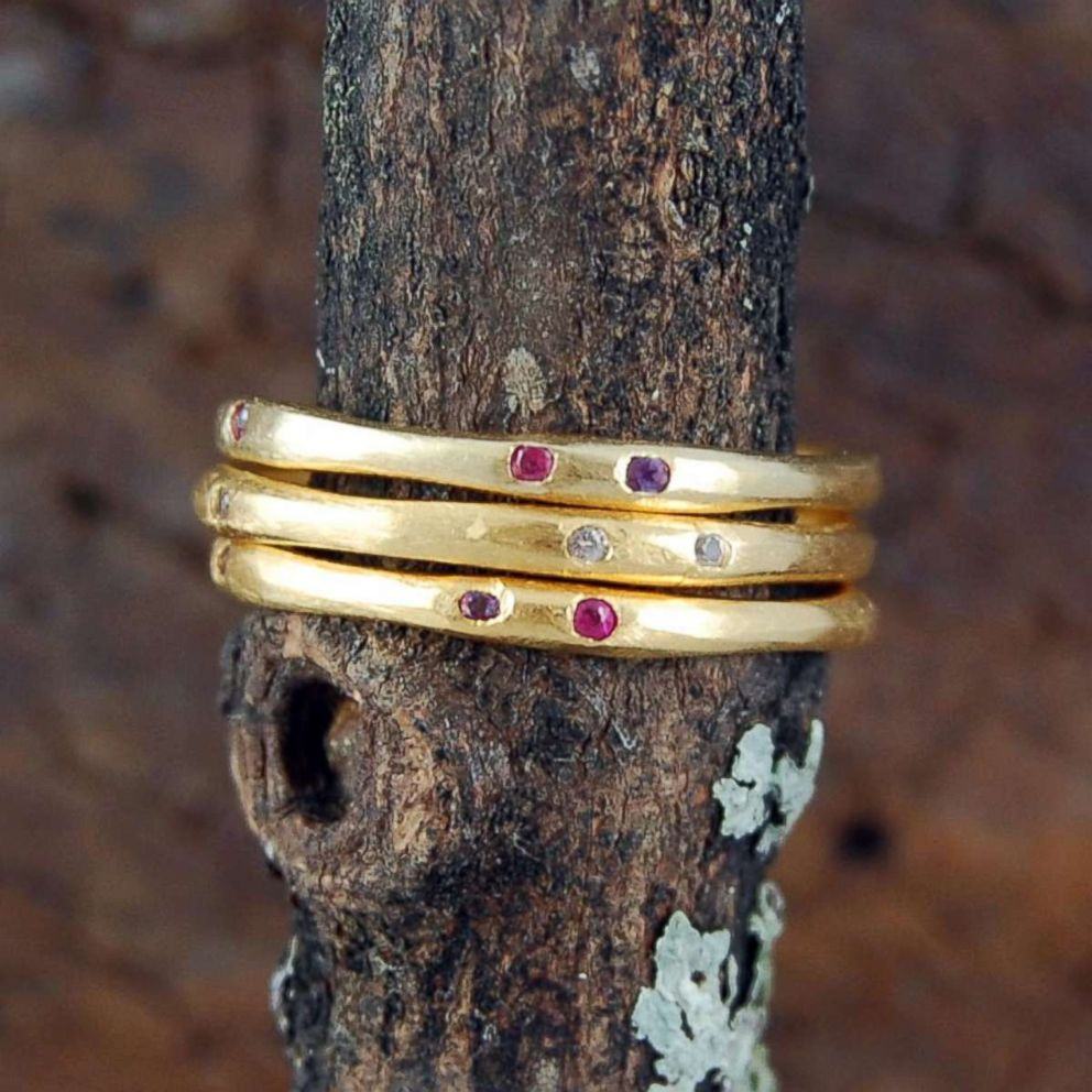 PHOTO: Stacking rings are among the hottest wedding ring trends because they are highly-customizable and allow brides to mix up their look.