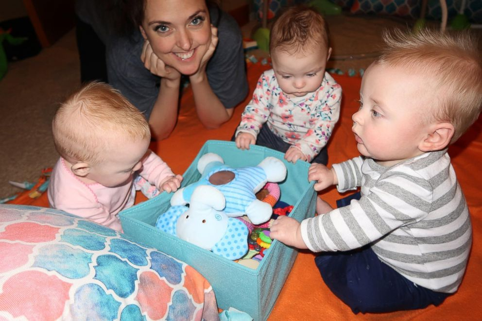 PHOTO: Mickey and Samantha Clarks triplets, Shepherd, Eleni and Ayla Clark, turned six months old in February 2018.