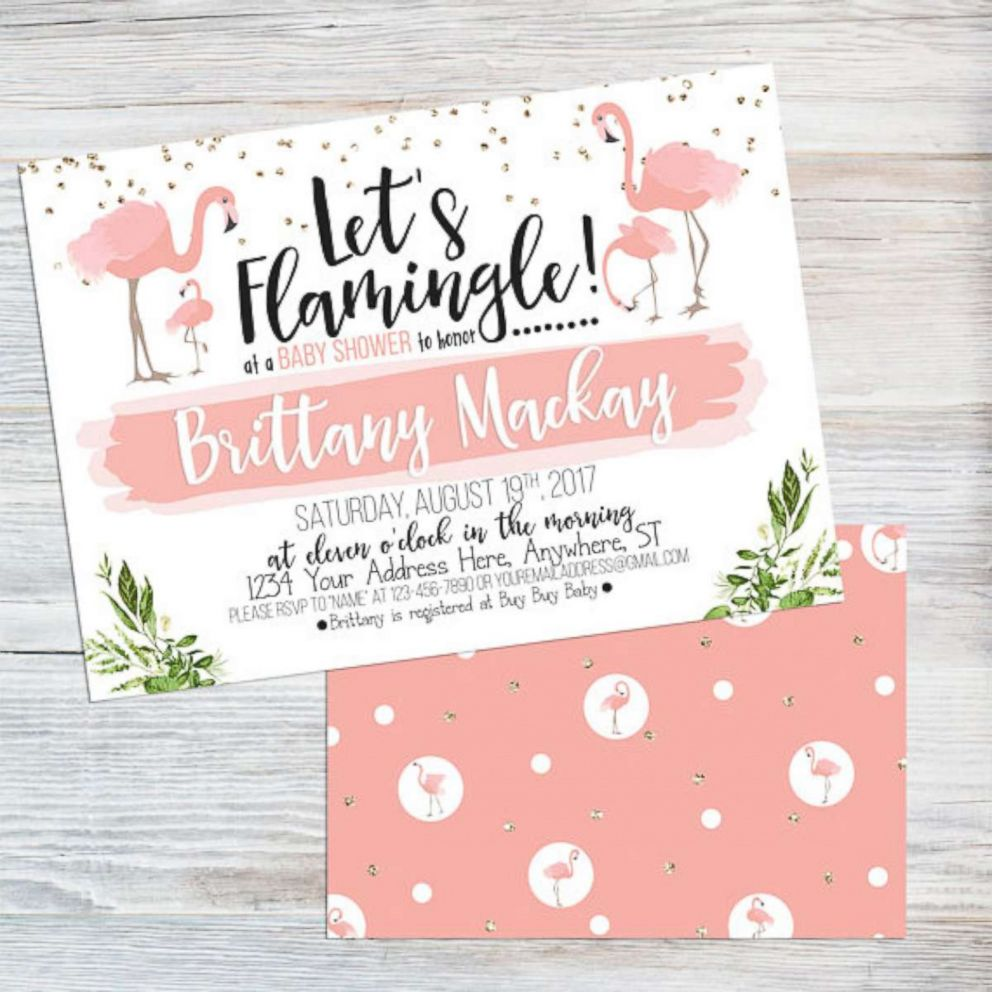 PHOTO: This flamingo baby shower invite is listed on Etsy.com.