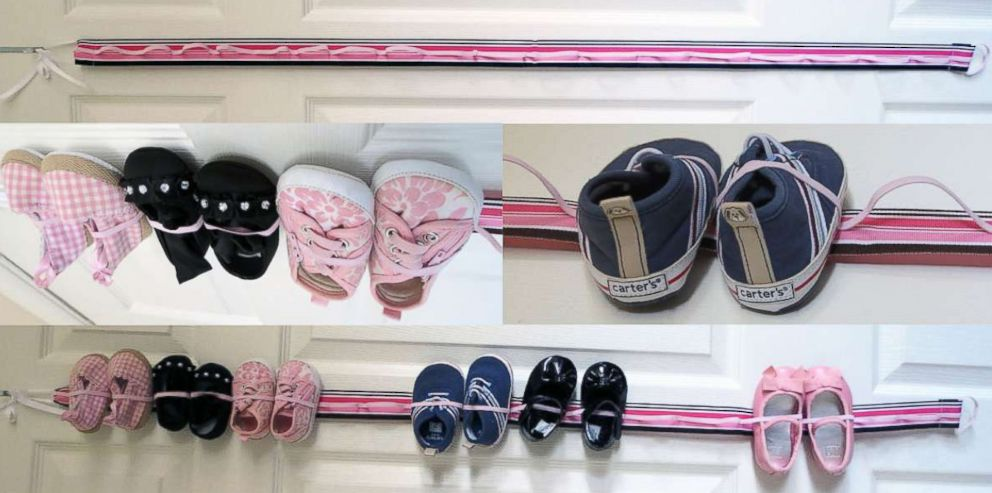 PHOTO: This hanging baby shoe organizer with elastic is available at the HelloMonogramTN shop on Etsy.