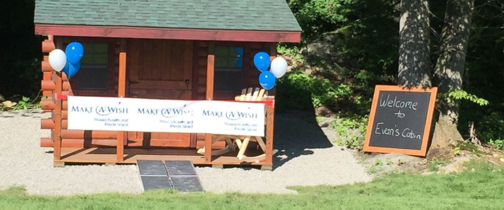 PHOTO: Evan Vaudry, 6, was surprised with a log cabin in the backyard of his Cumberland, Rhode Island, home.