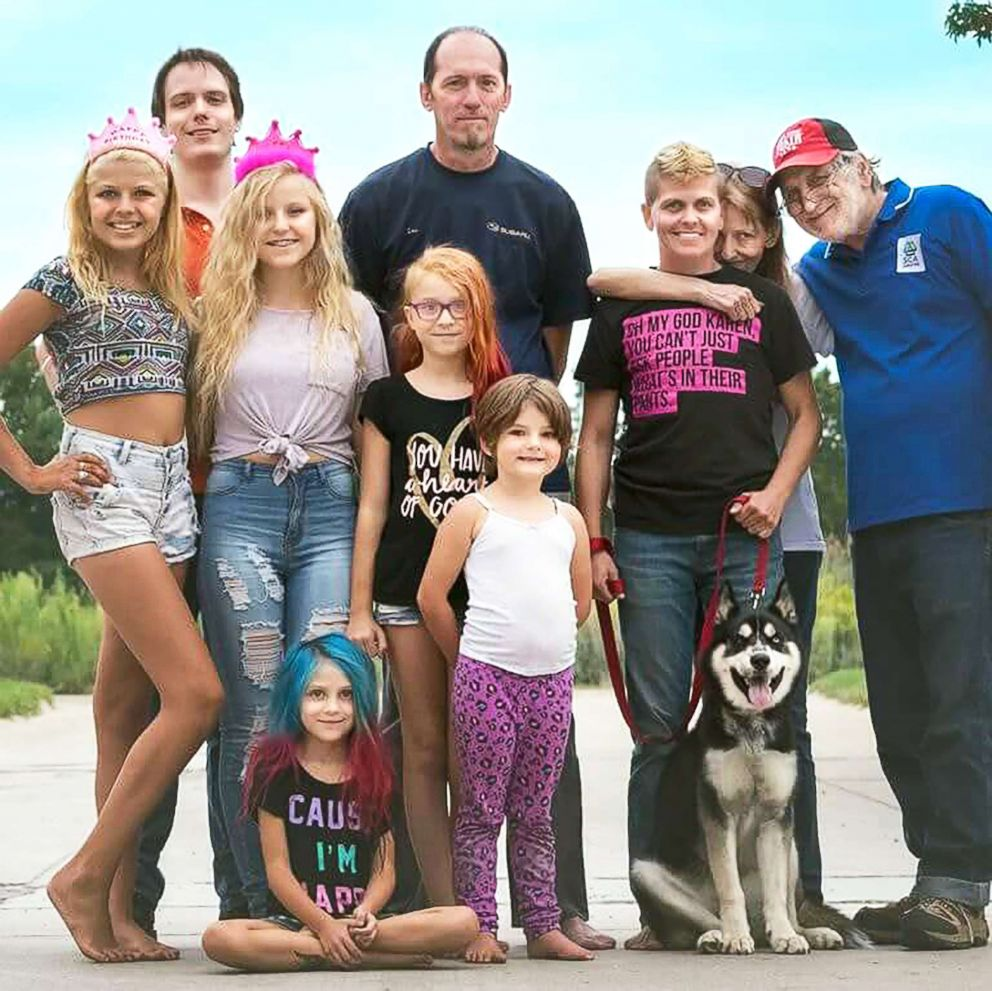 PHOTO: Seen in this recent family photo is Eric Maison, 40, poses with his children, Chelsea, 24, Corey, 16, Kailee, 15, Ellen, 10, and Willow, 7 and his husband Les Maison.