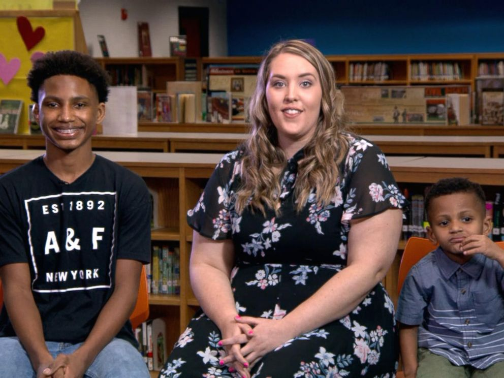 PHOTO: Chelsea Haley appears live on Good Morning America with her sons, Jerome Robinson and Jace Robinson.