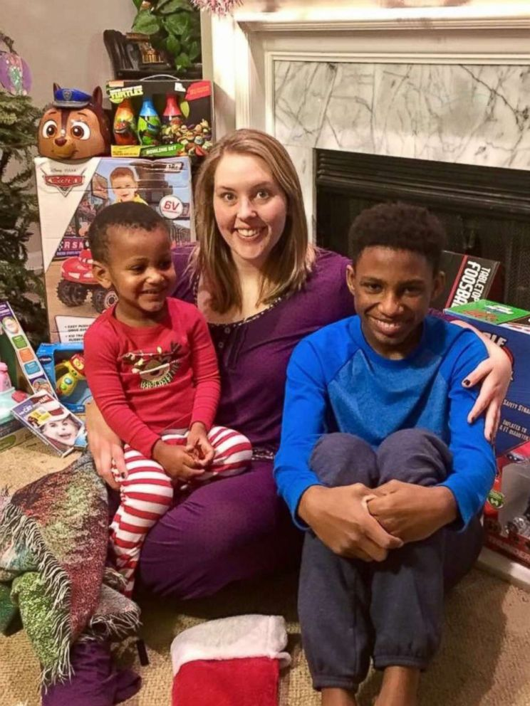 PHOTO: Chelsea Haley poses with her sons, Jerome Robinson and Jace Robinson, on Christmas morning.