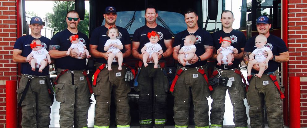 PHOTO: The firefighters of Glenpool Fire Department in Glenpool, Okla., pose with their babies on Sunday, May 20, 2018.