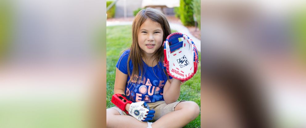 PHOTO: Hailey Dawon, a 7-year-old girl from Nevada with a 3-D printed prosthetic hand whose dream of throwing the first pitch at every major league ballpark, will throw the first pitch at Game 4 of the World Series tonight, on Oct. 28.