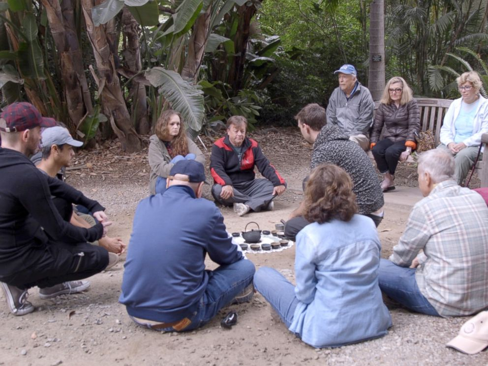 PHOTO: Forest bathing participants sit at the Los Angeles County Arboretum and Botanic Garden.