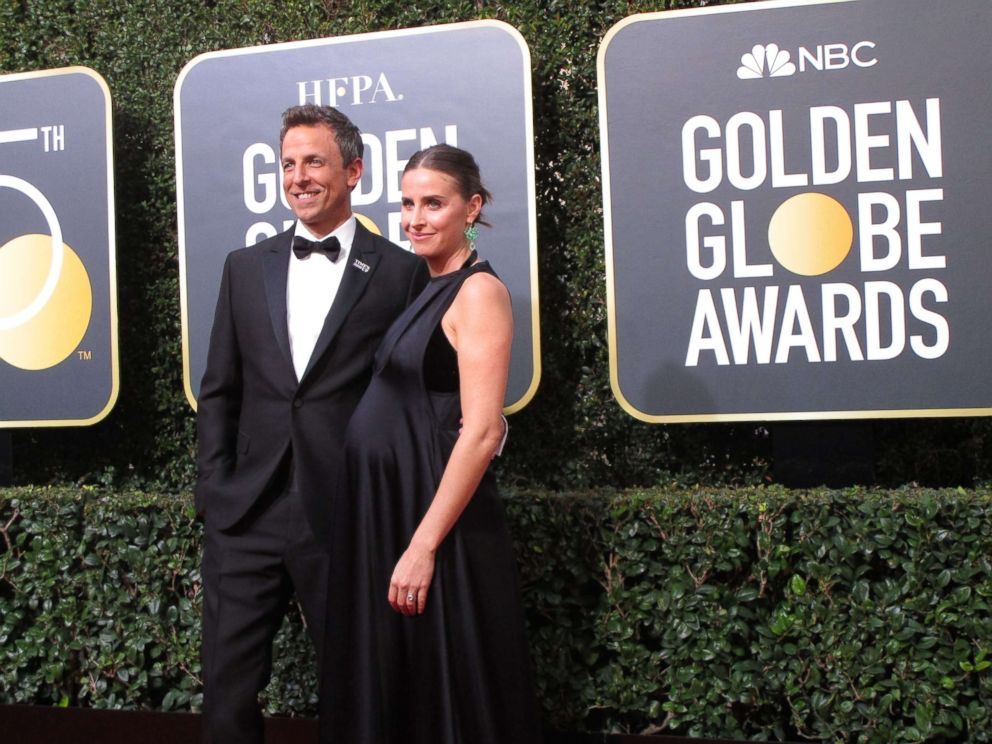 Francine Gascon, 10, photographed Golden Globes host Seth Meyers and his wife Alexi Ashe.