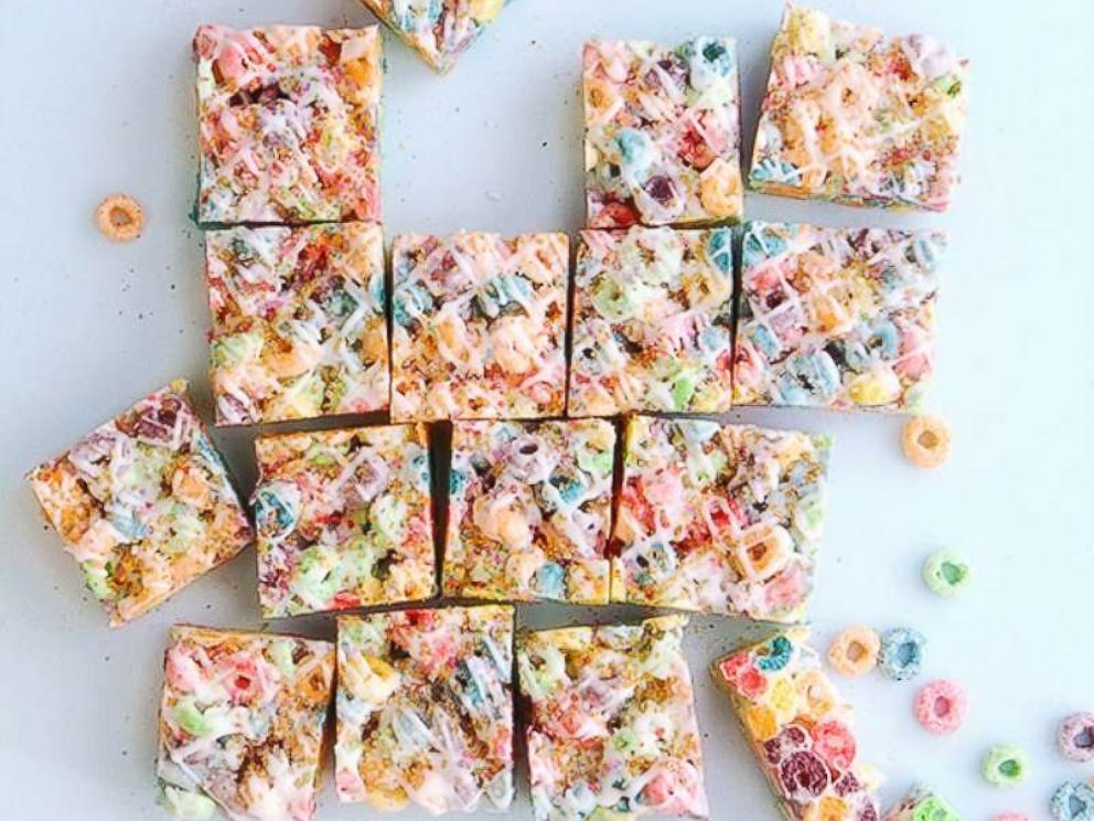 PHOTO: Naomi Robinson, author of Bakers Royale, riffs on the classic rice krispie treat made with Fruit Loops and topped with colored sugar.