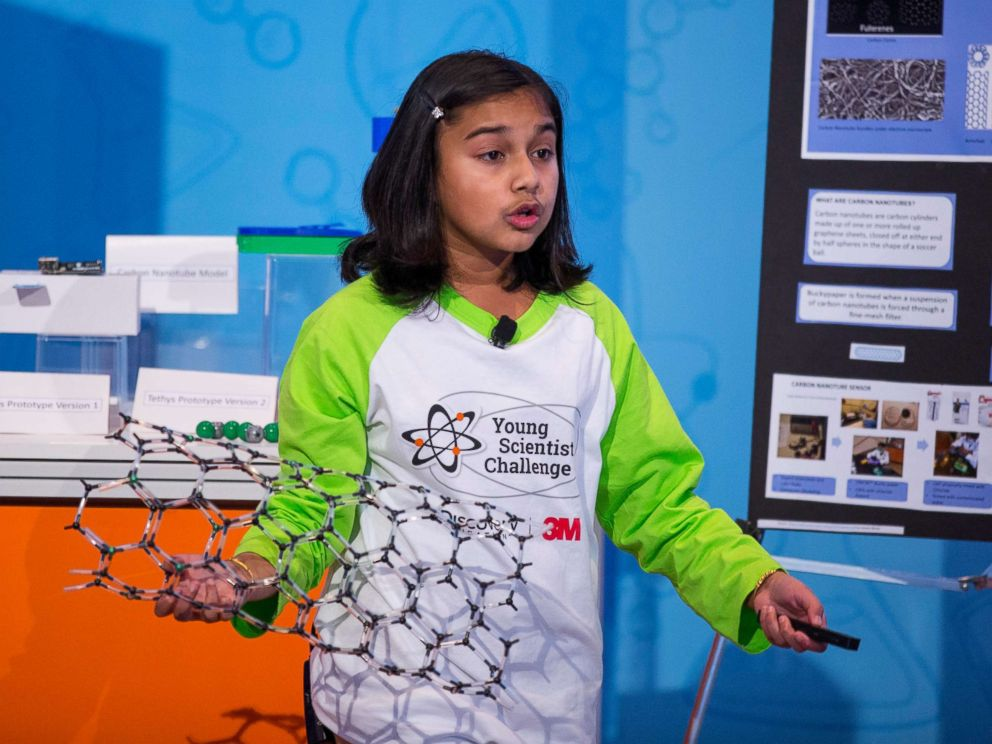 PHOTO: Gitanjali Rao presents her discovery to a panel of scientists and school officials at the 2017 Discovery Education 3M Young Scientist Challenge.