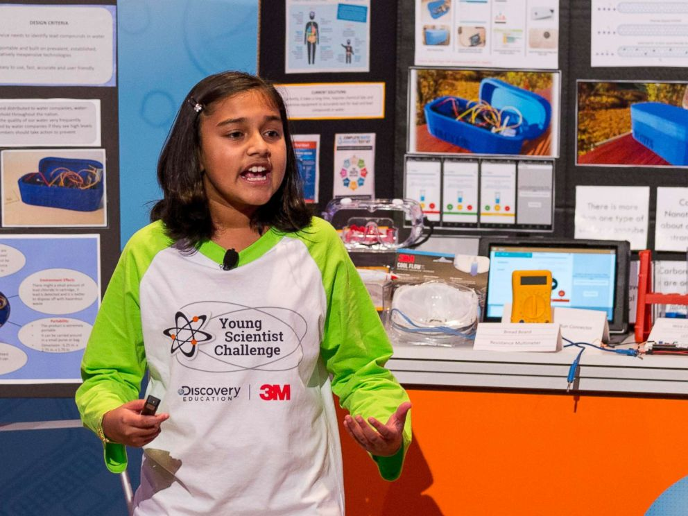 PHOTO: Seventh-grader Gitanjali Rao from Lone Tree, Colo. presents her winning invention at the the 2017 Discovery Education 3M Young Scientist Challenge finals in St. Paul, Minn.