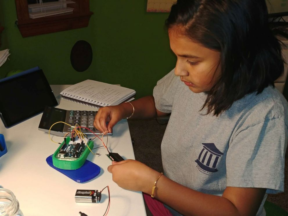 PHOTO: Gitanjali Rao, 11, works on her lead testing device at home in the familys science room in Lone Tree, Colo., in an undated handout photo.