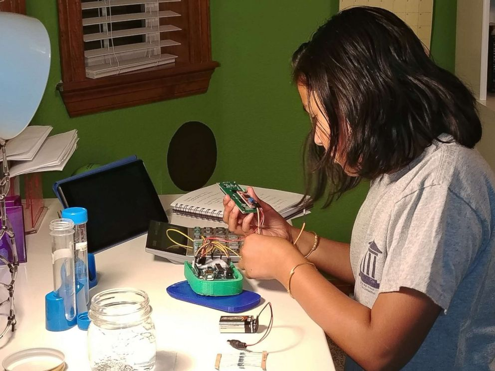 PHOTO: Gitanjali Rao, 11, works on her lead testing device at home in Lone Tree, Colo., in an undated handout photo.