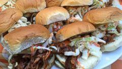 PHOTO: Slow-cooked pork shoulder sandwich.