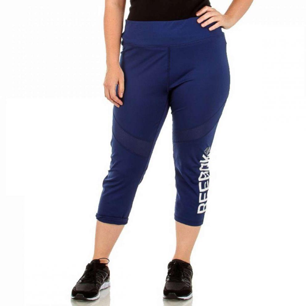 PHOTO: Burlingtons Plus Size Active Logo Capri Leggings with Mesh Inset