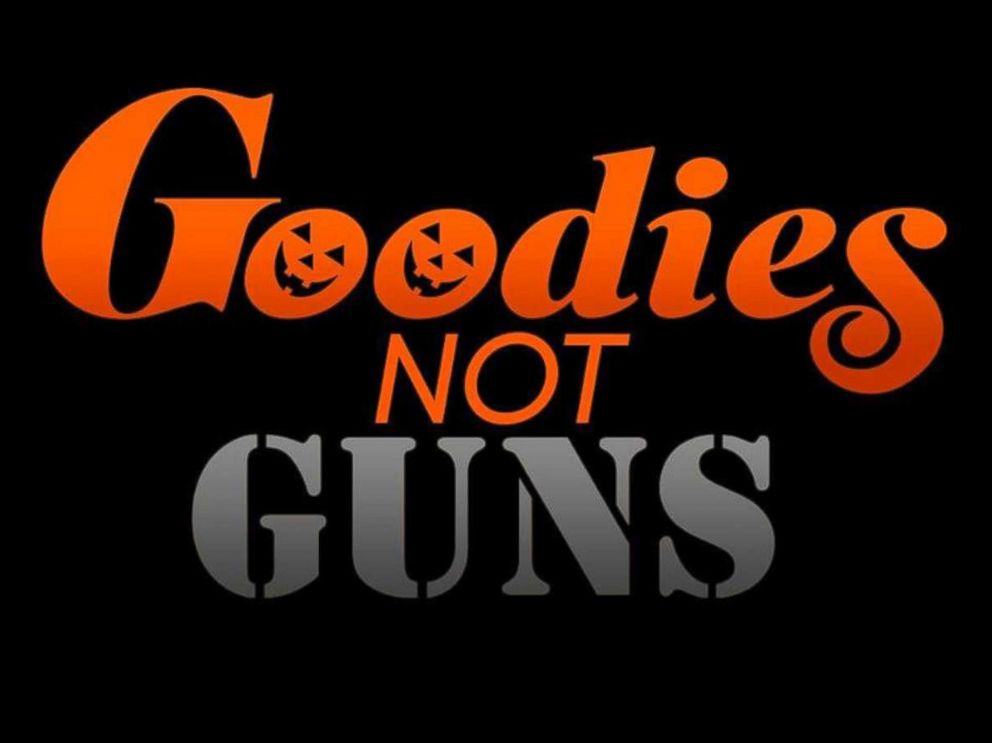 PHOTO: Goodies Not Guns is a movement created by partners Amanda Hanig and Jordon Gillis to encourage children to wear nonviolent Halloween costumes.